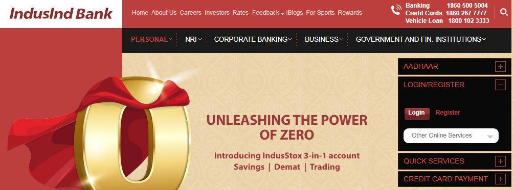 indusind bank net banking new registration