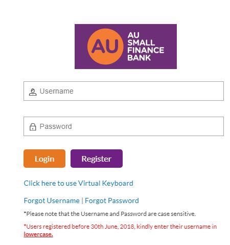 AU Small Finance Bank: Net Banking Login