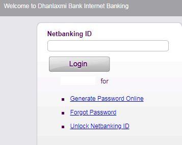 dhanlakshmi bank net bank