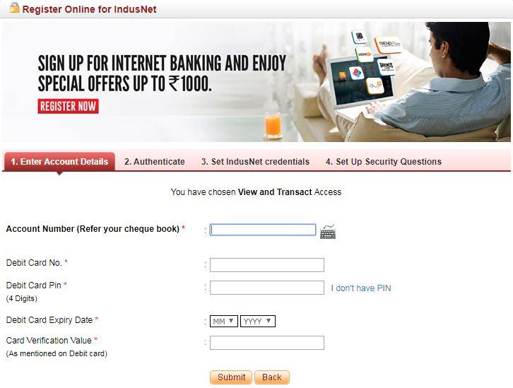 indusind net banking register page