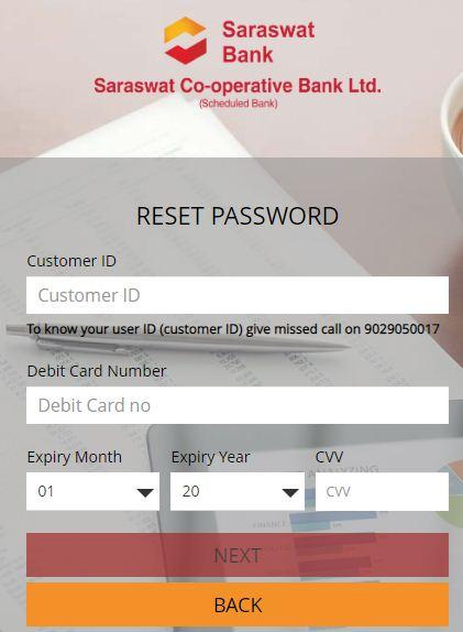 saraswat net banking reset