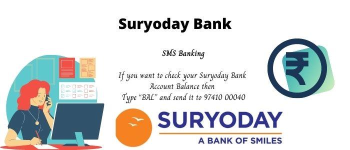 Suryoday Bank SMS Banking