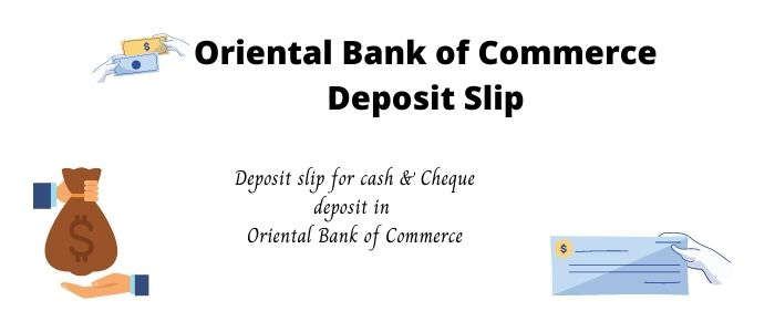 Oriental Bank of Commerce deposit slip