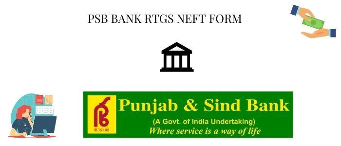 PSB RTGS form pdf
