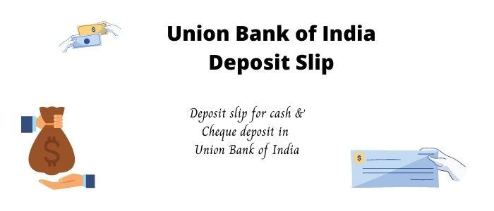 Union bank of india Deposit Slip PDF